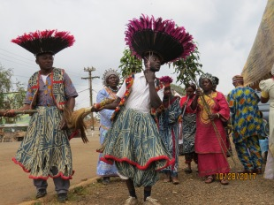 These young men dance the traditional dance signalling an event of great importance